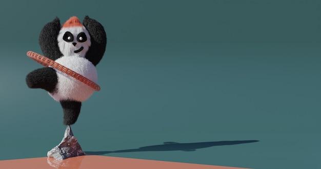 Panda felice. panda yoga. illustrazione rendering 3d in 4k.