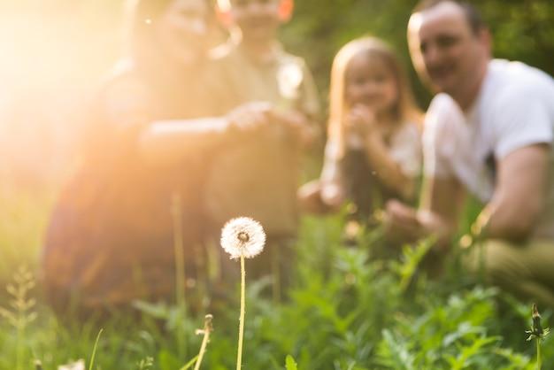 Genitori felici con bambino in natura Foto Premium
