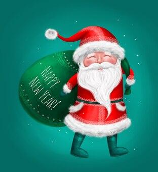 Personaggio di babbo natale felice con regali, biglietto di felice anno nuovo