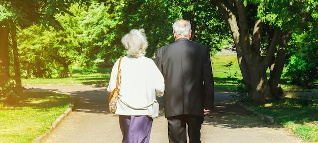 Felice storia d'amore di coppia senior. la vecchia coppia sta camminando nel parco verde. nonna e nonno che ridono. stile di vita delle persone anziane. insieme pensionati.