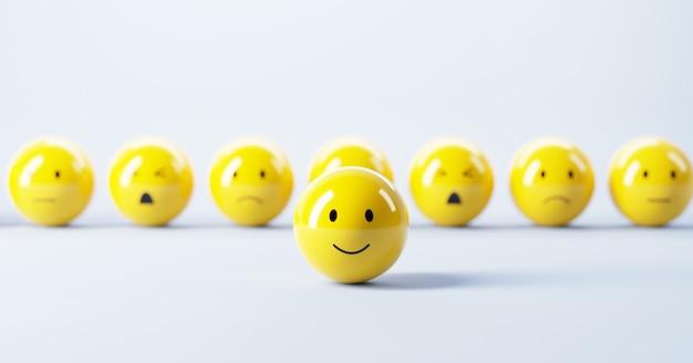 Faccina sorridente felice sul set di emoticon con umore triste
