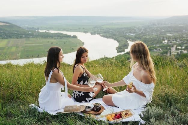 Amici di donne sorridenti felici brindano con bicchieri di vino ed è divertente insieme.