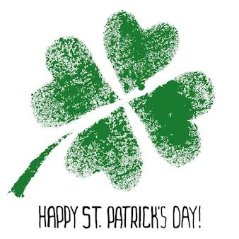 Felice giorno di san patrizio - quadrifoglio irlandese verde - illustrazione raster