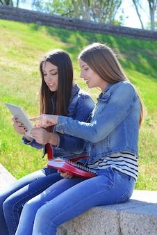 Studenti felici seduti nel parco