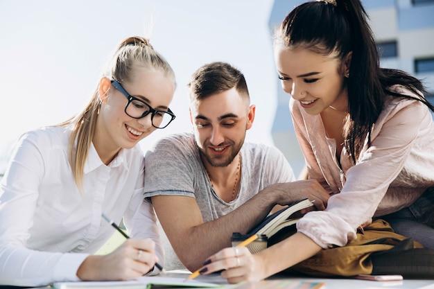 Gli studenti felici lavorano e studiano al tavolo all'aria aperta
