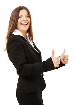 Felice imprenditrice di successo su bianco