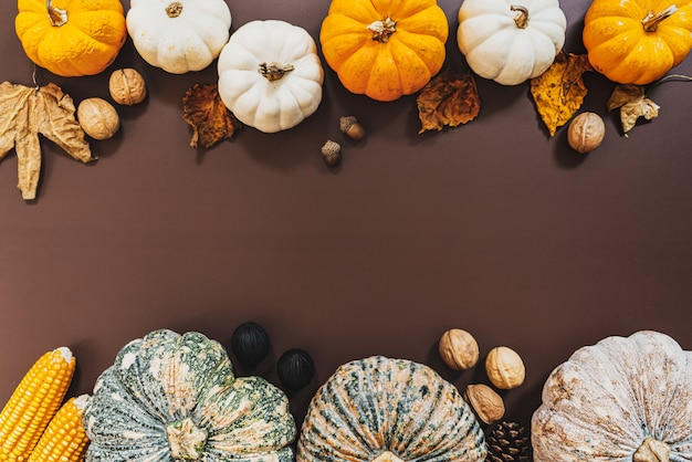 Felice giorno del ringraziamento con zucca e noci sul tavolo