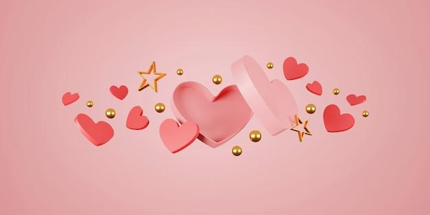 Felice banner di san valentino. cuore, regalo e scatola su sfondo rosa. spazio per il testo. illustrazione 3d