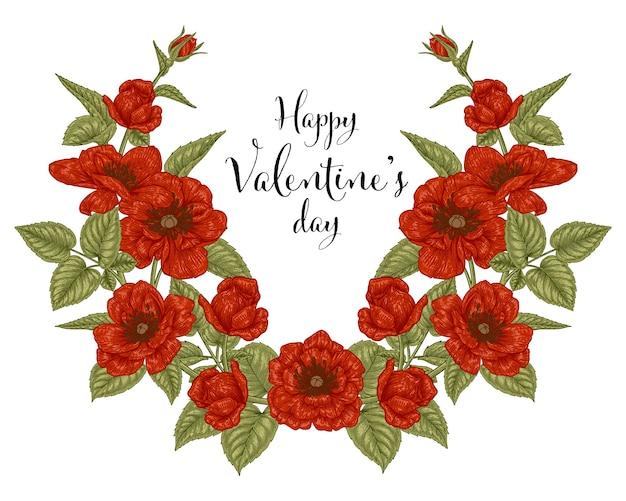 Felice giorno di san valentino carta con fiori rossi