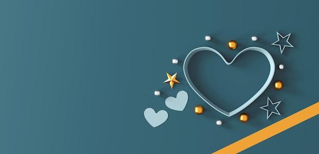 Buon san valentino concetto. confezione regalo a forma di cuore su sfondo verde.