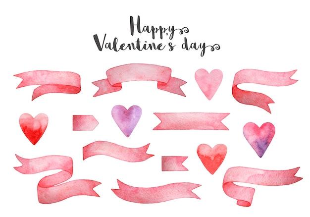 Buon san valentino! set di nastri rosa acquerello disegnati a mano, cuori rossi, rosa, viola.