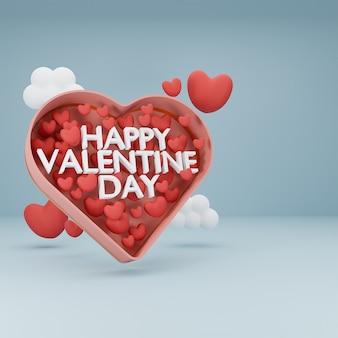 Buon san valentino di testo 3d e cuore nella casella cuore su sfondo blu cielo. rendering 3d