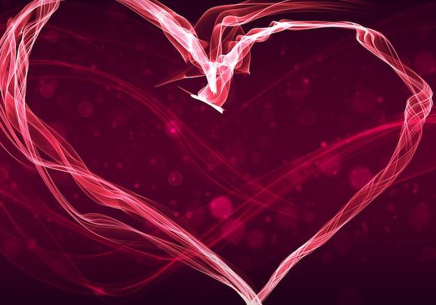 Illustrazione della parete di san valentino felice con cuore di fiamma e bokeh.