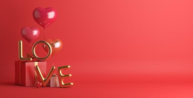 Felice giorno di san valentino decorazione con confezione regalo palloncino a forma di cuore