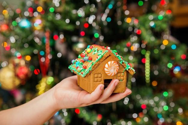 Felice giovane casalinga che mostra i biscotti di natale casa di capodanno di natale con i biscotti in mano