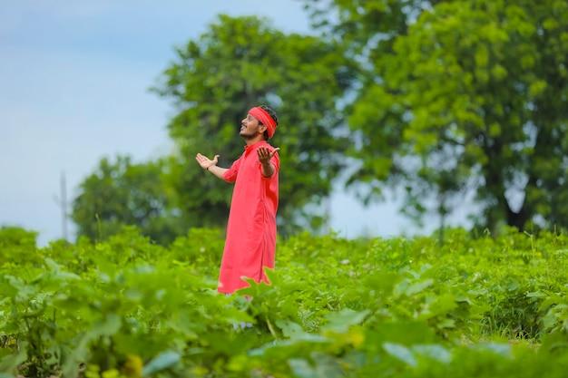 Felice giovane agricoltore indiano in piedi nel campo di melanzane verdi