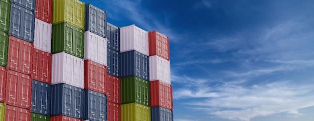 Merci portuali. pila di contenitori in un porto con cielo blu sullo sfondo. rendering 3d. banner con copyspace