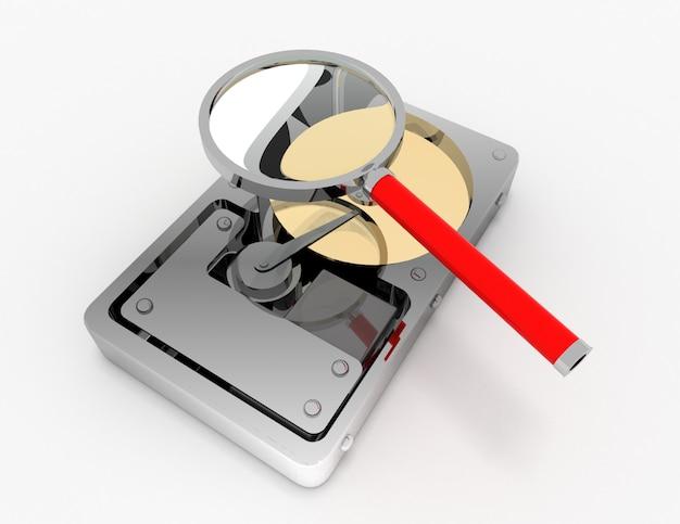 Hard disk e lente di ingrandimento