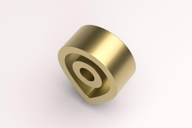 Immagine di rendering 3d posizione bordo duro con effetto oro