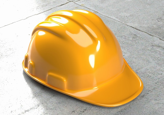 Elmetto protettivo casco di sicurezza giallo su una superficie di cemento. rendering 3d