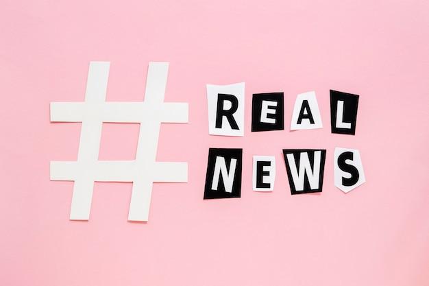 Simbolo affilato di hashtag per false notizie