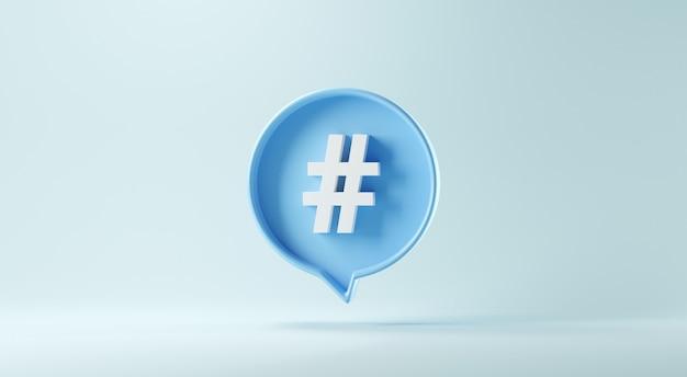 Simbolo del segno di hashtag nell'icona di notifica dei social media su sfondo blu.