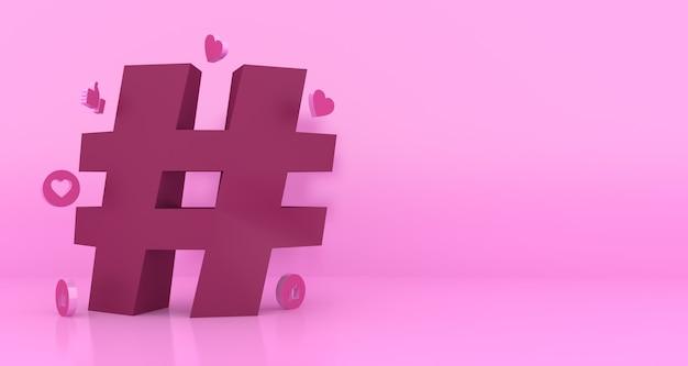 Simbolo di hashtag rendering 3d con copia spazio