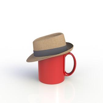 Cappello sulla tazza di caffè rossa su bianco
