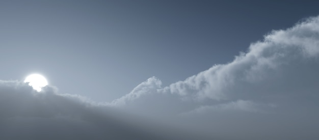 Cielo nebuloso con sole e nuvole. 3d render illustrazione.