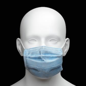 Ritratto della testa dell'uomo che indossa la maschera protettiva