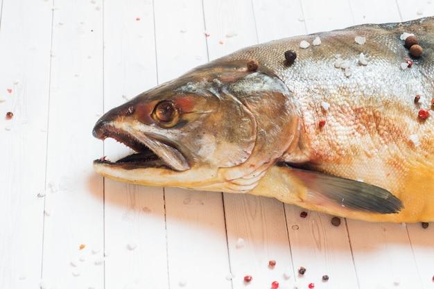 Testa di gobba pesce crudo con spezie su un tavolo luminoso.
