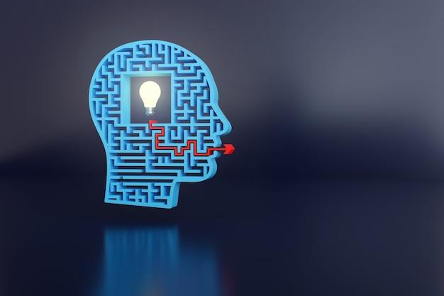 Labirinto a forma di testa con una lampadina al centro e una freccia che esce dalla sua bocca.