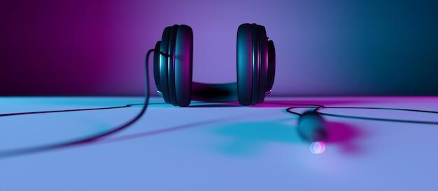 Cuffie su uno sfondo nero di close-up in luce al neon, 3d'illustrazione