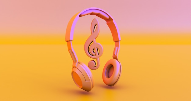 Cuffie e note - concetto di musica. rendering 3d