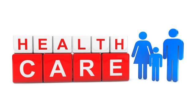 Cubi di assistenza sanitaria con la famiglia di persone su sfondo bianco