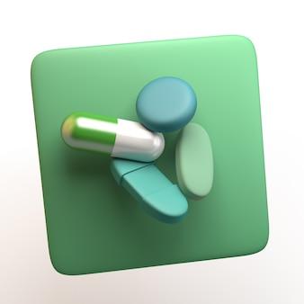 Icona di assistenza sanitaria con pillole isolati su priorità bassa bianca. app. illustrazione 3d.