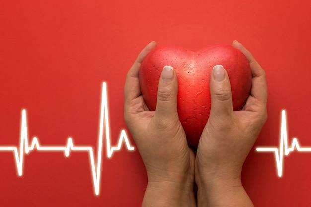 Concetto di salute, medicina, persone e cardiologia - stretta di mano con piccolo cuore rosso e cardiogramma su sfondo rosso