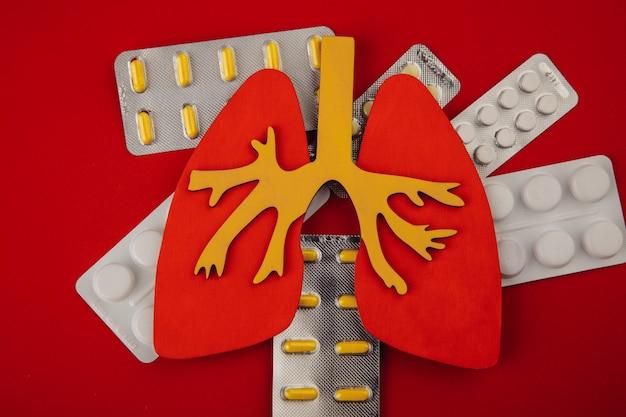 Concetto di assistenza sanitaria. polmone e pillole su sfondo rosso vista dall'alto.