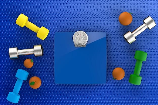 Concetto di assistenza sanitaria con bilance con manubri e arance