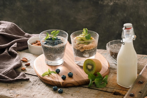 Prima colazione sana - ciotola di muesli, bacche e frutta, noci, kiwi, latte