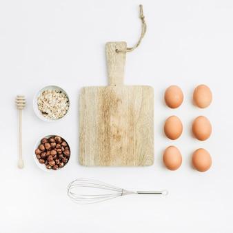 Ingredienti alimentari sani. concetto di cucina. disposizione piatta, vista dall'alto