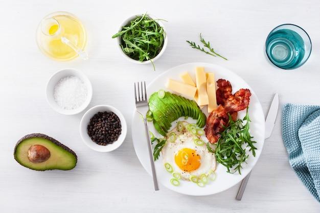 Sana colazione cheto: uova, avocado, formaggio, pancetta