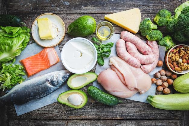 Prodotti sani a basso contenuto di carboidrati. concetto di dieta chetogenica