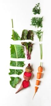 Alimenti biologici sani. verdure crude, ingredienti per borsh, vista dall'alto, piatto laico, oggetto