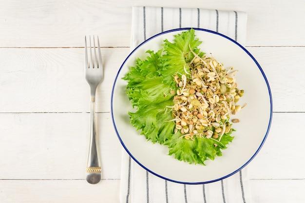 Insalata di fagioli germogliati sani di lenticchie. cibo biologico crudo.