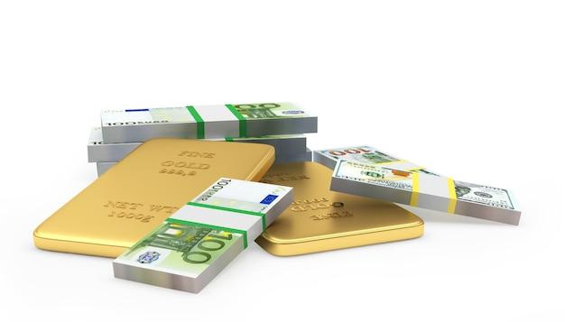 Mucchio di lingotti d'oro con euro e banconote da un dollaro 3d