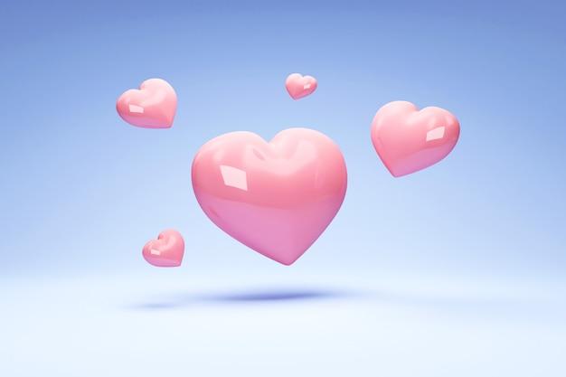 Mucchio di cuori di amore su sfondo blu studio