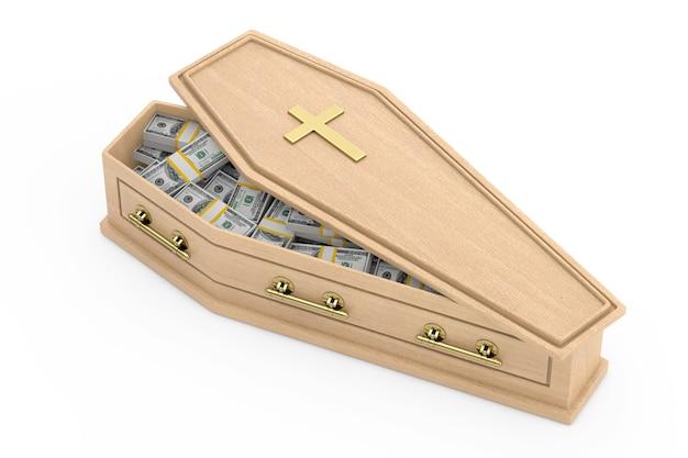 Mucchio di banconote da un dollaro degli stati uniti nella bara di legno con croce dorata e maniglie su sfondo bianco. rendering 3d