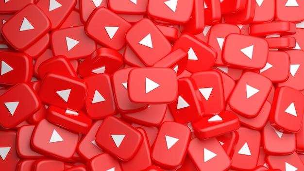 Mucchio di pulsanti di riproduzione di youtube per uno sfondo nel rendering 3d