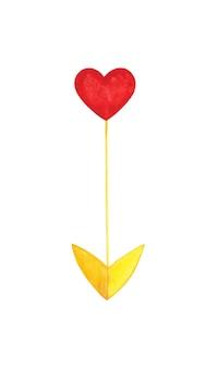 Cuore freccia clip art isolato su bianco cuore rosso e punta gialla illustrazione decorazione di san valentino
